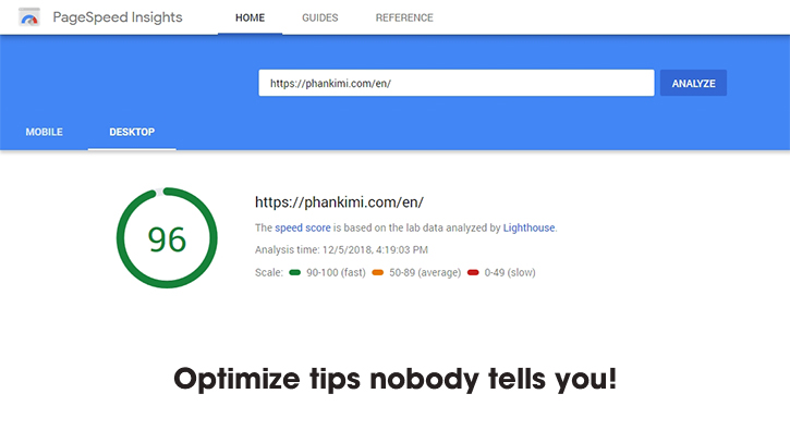 speed up Google Pagespeed Insight optimize tips